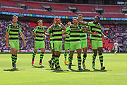 Forest Green Rovers celebrate Forest Green Rovers Kaiyne Woolery(14) goal during the Vanarama National League Play Off Final match between Tranmere Rovers and Forest Green Rovers at Wembley Stadium, London, England on 14 May 2017. Photo by Shane Healey.