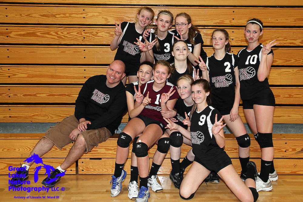 Photographs of the De Pere Diggers Girls Volleyball Team at the 2012 Tournament in Wautoma, WI.
