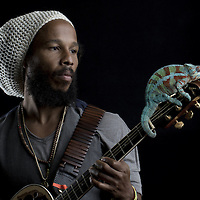 Ziggy Marley with a panther chameleon resting on his guitar