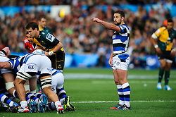 Bath Scrum-Half Micky Young points - mandatory by-line: Rogan Thomson/JMP - Tel: 07966 386802 - 23/05/2014 - SPORT - RUGBY UNION - Cardiff Arms Park, Wales - Bath Rugby v Northampton Saints - Amlin Challenge Cup Final.