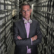 BOWIE, MD- MAY3: Travis Roxlau, director of Collection Services, in the documents vault at the U.S. Holocaust Memorial Museum's David and Fela Shapell Family Collections, Conservation and Research Center in Bowie, MD, May 3, 2017. The 80,000-square-foot Shapell Center is a state-of-the-art facility that will house the collection of record of the Holocaust, including historical artifacts, documents, photographs, film and other objects related to the Holocaust. (Photo by Evelyn Hockstein/For The Washington Post)