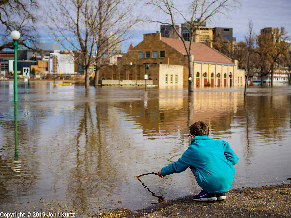 29 MARCH 2019 - ST. PAUL, MN: ROMONA WEBB, 11, from West St. Paul, MN, checks the depth of a flooded road in Harriet Island Park in St. Paul as the Mississippi River flows past her. The Mississippi River through the Twin Cities has already hit flood stage. Several roads and parks in St Paul are already closed in anticipation of higher flood levels. Weather forecasters and hydrologists have backed off a little on earlier predictions of severe flooding because the snow melt has been slower than expected.      PHOTO BY JACK KURTZ