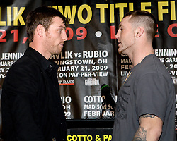 John Duddy and Matt Vanda go head to head at the press conference Saturday's for their light middleweight fight at Madison Square Garden. 18th Feb 2009