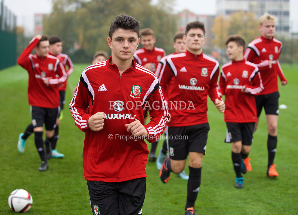NEWPORT, WALES - Monday, November 2, 2015: Wales' Steffan Buckeley during a training session ahead of the Under-16's Victory Shield International match at Dragon Park. (Pic by David Rawcliffe/Propaganda)