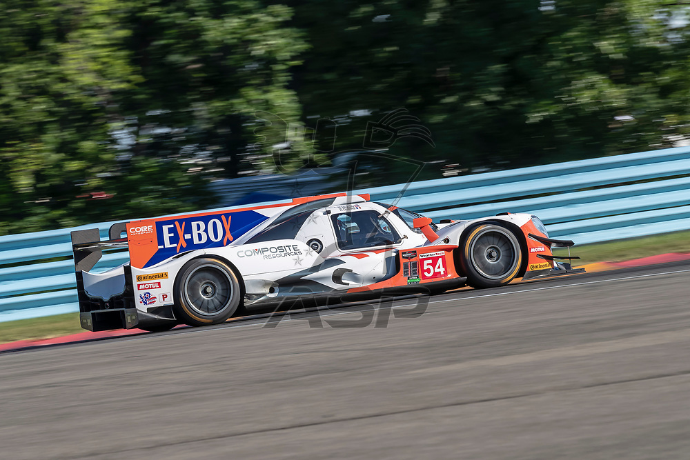 The CORE autosport Composite Resources ORECA LMP2 car practice for the Sahlen's Six Hours At The Glen at Watkins Glen International Raceway in Watkins Glen, New York.