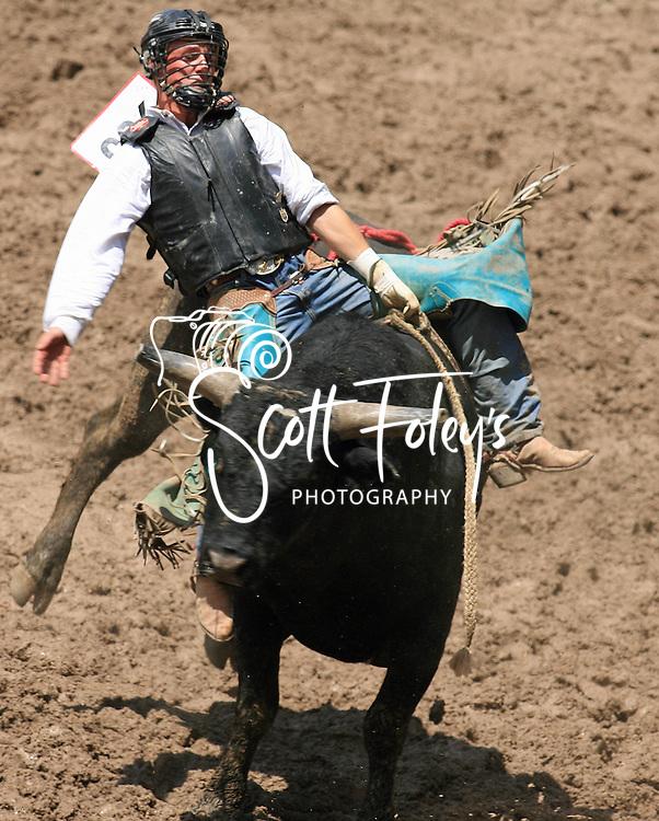 Bull Rider Chad Allen Raver rides 332 Frank Bonetto BH, 28 July 2007, Cheyenne Frontier Days