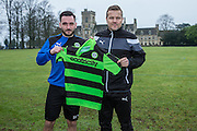 Jake Goslingwith Forest Green Rovers manager, Mark Cooper signs on loan with Forest Green Rovers from Bristol Rovers, until the end of the season at the New Lawn, Forest Green, United Kingdom on 17 January 2017. Photo by Shane Healey.
