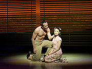 Lincoln Center Theater production of Rodgers &amp; Hammerstein's<br /> <br /> South Pacific <br /> <br /> Directed by Bartlett Sher <br /> <br /> Musical Staging by Christopher Gattelli<br /> Sets by Michael Yeargan<br /> Lighting by Donald Holder<br /> Costumes by Catherine Zuber<br /> Sound by Scott Lehrer<br /> Music Direction by Ted Sperling<br /> Original Orchestrations by Robert Russell Bennett<br /> <br /> at The Barbican Theatre, London, Great Britain <br /> <br /> 22nd August 2011 <br /> <br /> Daniel Koek (as Joseph Cable)<br /> Elizabeth Chong (as Liat)<br /> <br /> Photograph by Elliott Franks