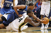 during the first half of an NBA basketball game, Friday, April 6, 2012, in Salt Lake City.  (AP Photo/Colin E Braley).