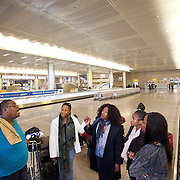"(03/12/2011 JERUSALEM) Minutes after arriving in the Tel Aviv airport P. Michael Williams, September Penn, Aleta Hayes, Jessica Re Phillips and Chelsi Butler sing ""Ain't Gonna let Nobody"" a gospel song from the Passages of Martin Luther King play.  This would be the groups first song together as a choir in Israel.    [WILLIE J. ALLEN JR.]"