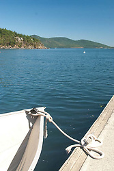 Boat Tied Up at Obstruction Pass County Dock, Orcas Island, San Juan Islands, Washington, US, July 2006