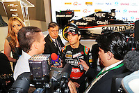 Sergio Perez (MEX) Sahara Force India F1 with the media.<br /> Sahara Force India F1 Team Livery Reveal, Soumaya Museum, Mexico City, Mexico. Wednesday 21st January 2015.
