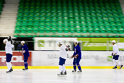 Players at first practice of Slovenian National Ice hockey team before World championship of Division I - group B in Ljubljana, on April 5, 2010, in Hala Tivoli, Ljubljana, Slovenia.  (Photo by Vid Ponikvar / Sportida)