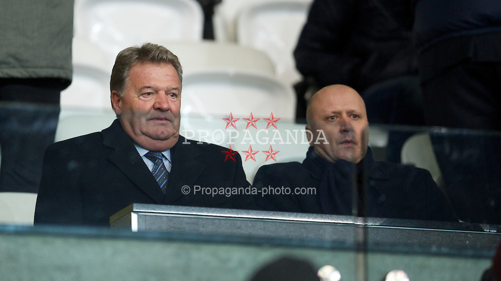 SWANSEA, WALES - Wednesday, January 23, 2013: Former Wales manager John Toshack and his son Cameron during the Football League Cup Semi-Final 2nd Leg match between Swansea City and Chelsea at the Liberty Stadium. (Pic by David Rawcliffe/Propaganda)
