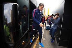 16 September 2017 -  Premier League - Watford v Manchester City - Ederson of Manchester City steps off the team bus - Photo: Marc Atkins/Offside