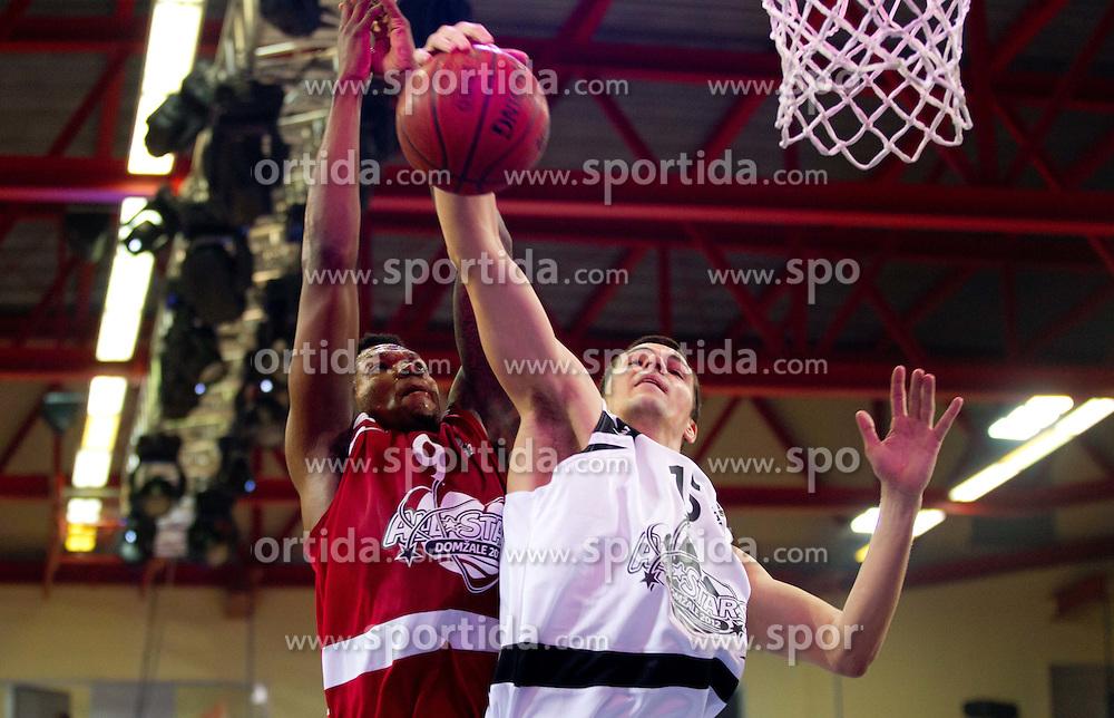 Deon Marshall Thomson vs Jure Balazic during Slovenian basketball All Stars Domzale 2012 event, on January 2, 2012 in Hala Komunalnega centra, Domzale, Slovenia.  (Photo By Vid Ponikvar / Sportida.com)