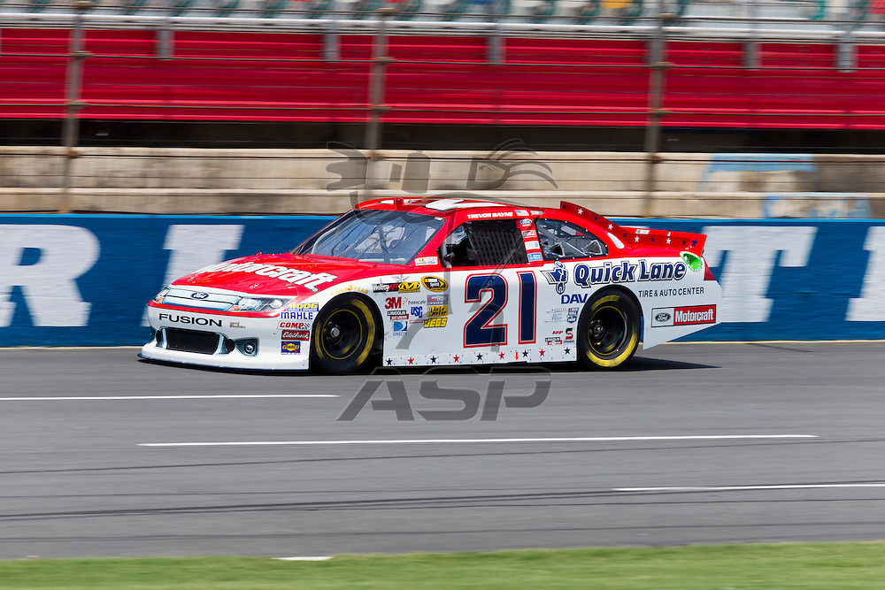 CONCORD, NC - MAY 26, 2012:  Trevor Bayne (21) brings his Motorcraft Ford on the track for a practice session for the Coca-Cola 600 at the Charlotte Motor Speedway in Concord, NC.