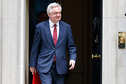 © Licensed to London News Pictures. 04/07/2017. London, UK. Secretary of State for Exiting the European Union DAVID DAVIS attends a cabinet meeting in Downing Street, London on Tuesday, 4 July 2017.Photo credit: Tolga Akmen/LNP