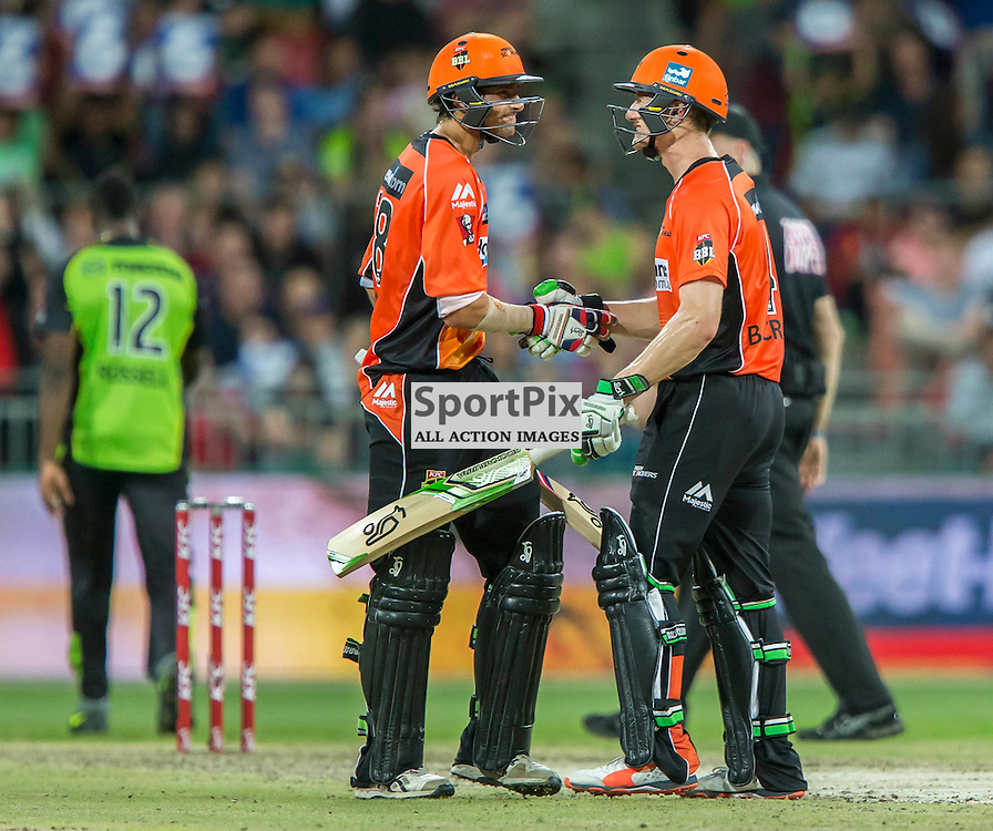 KFC Big Bash League T20 2015-16 , Sydney Thunder v Perth Scorchers, Spotless Stadium; 7 January 2016<br /> Perth Scorchers Ashton Agar is congratulated by Perth Scorchers Cameron Bancroft after scoring his 50.