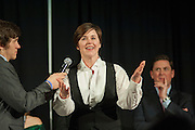 Dean of Students, Dr. Jenny Hall Jones answers a question during the question-answer portion of the Ava Nichols Faculty Pageant in Baker Center Ballroom on Wednesday, February 25.