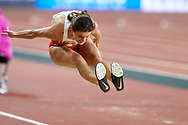Great Britain, London - 2017 August 07: Anna Jagaciak - Michalska (AZS Poznan) of Poland competes in women's triple jump final during IAAF World Championships London 2017 Day 4 at London Stadium on August 07, 2017 in London, Great Britain.<br /> <br /> Mandatory credit:<br /> Photo by © Adam Nurkiewicz<br /> <br /> Adam Nurkiewicz declares that he has no rights to the image of people at the photographs of his authorship.<br /> <br /> Picture also available in RAW (NEF) or TIFF format on special request.<br /> <br /> Any editorial, commercial or promotional use requires written permission from the author of image.