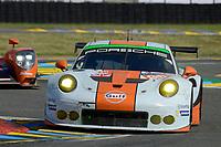 Michael Wainwright (GBR) / Adam Carroll (GBR) / Ben Barker (GBR) #86 Gulf Racing UK Porsche 911 RSR, . Le Mans 24 Hr June 2016 at Circuit de la Sarthe, Le Mans, Pays de la Loire, France. June 18 2016. World Copyright Peter Taylor/PSP.