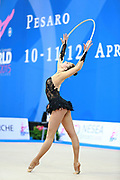 Mickova Monika during qualifying at hoop in Pesaro World Cup at Adriatic Arena on 10 April 2015. Monika was born on July 29, 1991 in Brno. She is individual rhythmic gymnast of Czech Republic.