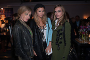 GEORGIA JAGGER; SUKI WOODHOUSE; CARA DELEVIGNE, The Vogue Festival 2012 in association with Vertu- cocktail party. Royal Geographical Society. Kensington Gore. London. SW7. 20 April 2012.