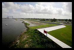 29 August 2006 - New Orleans - Louisiana. Lower 9th ward. One year later, on the anniversary of devastating hurricane Katrina, the repaired and in theory stronger levee flood wall along the industrial canal that last year breached, needlessly killing hundreds of innocent civilians in the worst engineering disaster in US history.