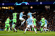 Manchester City defender Aymeric Laporte (14) clears from the corner during the Champions League round of 16, leg 2 of 2 match between Manchester City and FC Schalke 04 at the Etihad Stadium, Manchester, England on 12 March 2019.