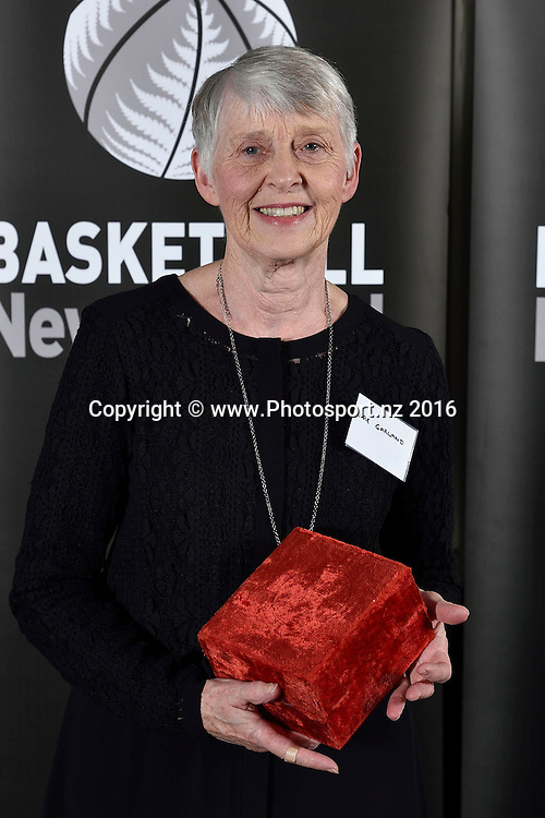 Rae Garland receives the Ian Goodwin Services to Officiating Award during the Basketball New Zealand awards evening at the Mercure Hotel in Wellington on Friday the 20th of May 2016. Copyright Photo by Marty Melville / www.Photosport.nz