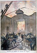 The Paris Fire Brigade fighting a blaze in the scenery store of the Paris Opera.  Sets for numerous productions were lost. From 'Le Petit Journal', Paris, 5 February 1894. France , Flames, Ladder, Hose, Water
