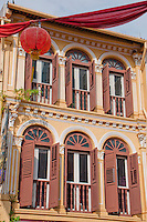 Building facade and red lantern in Chinatown, Singapore