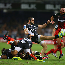 DURBAN, SOUTH AFRICA - MARCH 26: Cobus Reinach of the Cell C Sharks during the Super Rugby match between Cell C Sharks and BNZ Crusaders at Growthpoint Kings Park on March 26, 2016 in Durban, South Africa. (Photo by Steve Haag)<br /> <br /> images for social media must have consent from Steve Haag