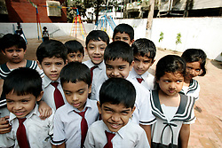 BANGLADESH CHITTAGONG 9MAR05 - Children gather outside Bay View private School in Chittagong. The school, directed by Mrs Mendes, is one of the best providing high quality secondary education in Bangladesh...jre/Photo by Jiri Rezac..© Jiri Rezac 2005..Contact: +44 (0) 7050 110 417.Mobile:  +44 (0) 7801 337 683.Office:  +44 (0) 20 8968 9635..Email:   jiri@jirirezac.com.Web:    www.jirirezac.com..© All images Jiri Rezac 2005 - All rights reserved.