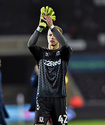 Aynsley Pears (42) of Middlesbrough applauds the travelling fans at full time during the EFL Sky Bet Championship match between Swansea City and Middlesbrough at the Liberty Stadium, Swansea, Wales on 14 December 2019.