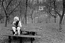 Krkonose, Spring 1990 - Hradecek.Olga Havlova in the garden of their cottage.