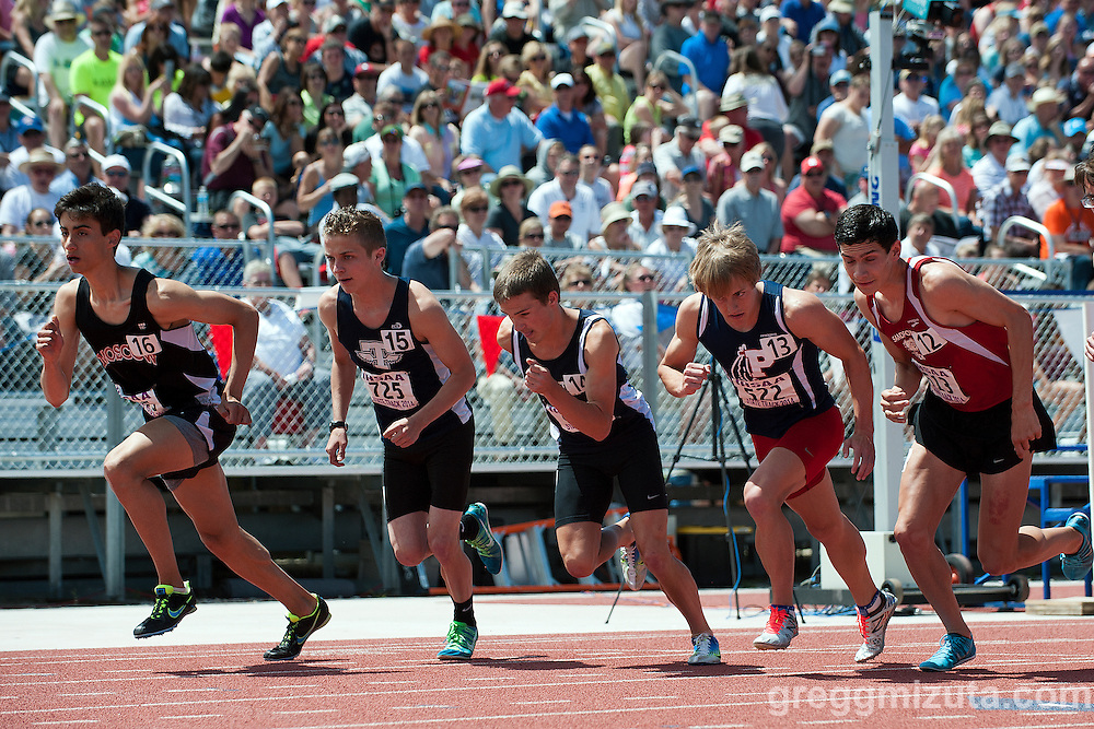The top seeds (L to R: Jerry Cook, Jeremy Stark, Austin Fred, Elijah Armstrong, Sam Levora) at the start of the Idaho State Track & Field Championships 4A 1600 meter run at Dona Larsen Park, Boise, Idaho on May 17, 2014. Armstrong ran a 4:09.04 breaking the state meet overall record of 4:10.95 set by Caldwell's Gene Betancourt in 1999.