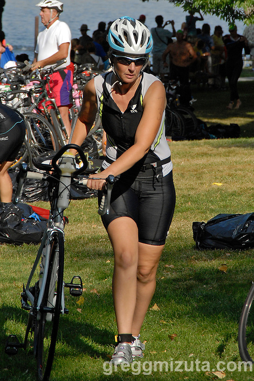 Maria Lechner in T1 during Emmett's Most Excellent Triathlon on August 7, 2010.<br /> <br /> Lechner finished the Olympic distance triathlon (1.5k swim, 40k bike and 10k run) in 3:32:45.