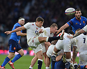 Twickenham, Great Britain, Ben YOUNGS, kicking clear from the back of the scrum, during the Six Nations Rugby England vs France, played at the RFU Stadium, Twickenham, ENGLAND. <br />