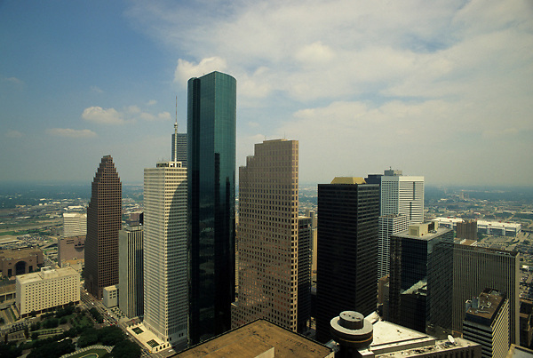 Stock photo of an aerial view of the Houston, Texas skyline from the southwest