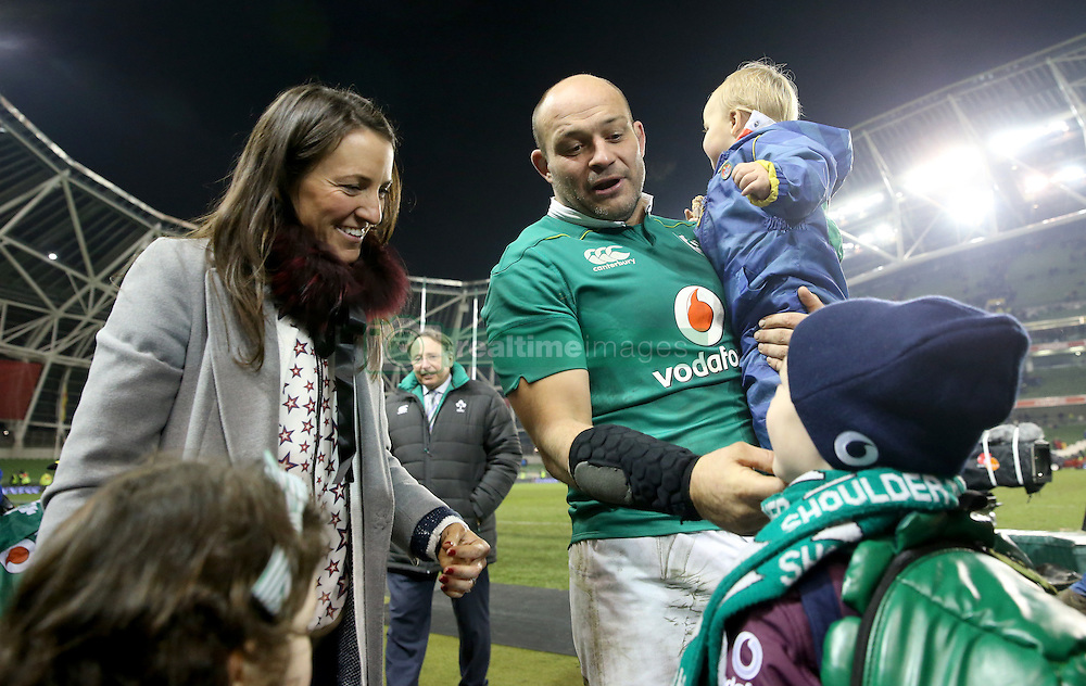 Ireland's captain Rory Best celebrates with his wife Jodie, sons Ritchie and Ben after the Autumn International match at the Aviva Stadium, Dublin.
