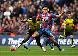 Scott Dann of Crystal Palace fouls Odion Ighalo of Watford - Mandatory by-line: Robbie Stephenson/JMP - 24/04/2016 - FOOTBALL - Wembley Stadium - London, England - Crystal Palace v Watford - The Emirates FA Cup Semi-Final