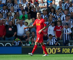 WEST BROMWICH, ENGLAND - Saturday, August 18, 2012: Liverpool's Daniel Agger walks off dejected after being sent off against West Bromwich Albion during the opening Premiership match of the season at the Hawthorns. (Pic by David Rawcliffe/Propaganda)