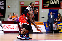 Fred Thomas of Bristol Flyers is helped up by Jalan McCloud of Bristol Flyers - Photo mandatory by-line: Robbie Stephenson/JMP - 11/01/2019 - BASKETBALL - Leicester Sports Arena - Leicester, England - Leicester Riders v Bristol Flyers - British Basketball League Championship