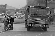 Lorry which was part of a coke convoy driving past miners' pickets at Orgreave. 25 May 1984<br />