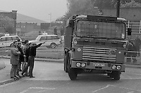 Scab lorry which was part of a coke convoy driving past miners' pickets at Orgreave. 25/05/1984.<br />