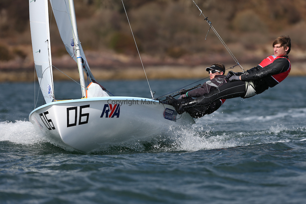 Day 2 of the RYA Youth National Championships 2013 held at Largs Sailing Club, Scotland from the 31st March - 5th April. ..54482, Callum AIRLIE, Joe BUTTERWORTH, ELYC, 420...For Further Information Contact..Matt Carter.Racing Communications Officer.Royal Yachting Association.M: 07769 505203.E: matt.carter@rya.org.uk ..Image Credit Marc Turner / RYA..
