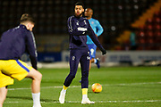 Wimbledon forward Jake Jervis (10), on loan from Luton Town, warming up  during the EFL Sky Bet League 1 match between Rochdale and AFC Wimbledon at Spotland, Rochdale, England on 19 February 2019.