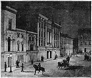 Street in Newcastle lit by Swan incandescent electric lamps. 1880s. Engraving